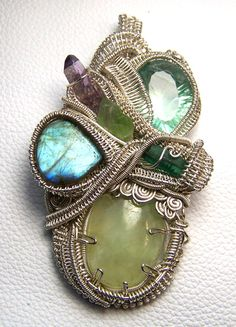 Wire wrap pendant  Crystal gem gemstone  large  by mandalarain, $475.00