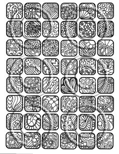 "Digital Download Collage Sheet, 48 - 1x1 Inch ""Black White Abstract Squares Set 2"" Great for Pendants Jewelry Magnets Charms By Kat. $3.00, via Etsy."