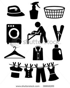 laundry icons: frame silhouettes for decor