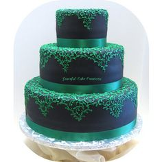 black fondant cake  | Black Fondant Wedding Cake with Emerald Green Lace Design - a photo on ...