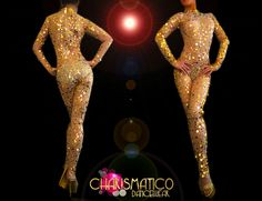 CHARISMATICO Sheer nude Diva's sexy catsuit with shiny golden sequined accents  #CHARISMATICO