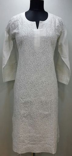 Lucknowi Chikan Hand Embroidered Kurti White on White Soft Cotton $43.37