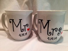 Mr And Mrs Hand Painted Wedding Coffee Mugs With Date Of On Etsy 18 00