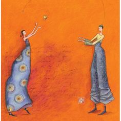 """Gaëlle Boissonnard postcard two square (16 cm) """"The couple and the Butterfly"""""""