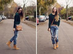 BoyFriend Jeans with Timberlands Timberland Outfits Women, Timberland Stiefel Outfit, Timberland Style, Botas Outfit, Boyfriend Jeans Kombinieren, Tips Fitness, Jeans Boyfriend, Outfit Trends, Cute Winter Outfits