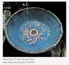 Sea Turtle Pottery Vessel Sink by rikablue on Etsy, $348.00