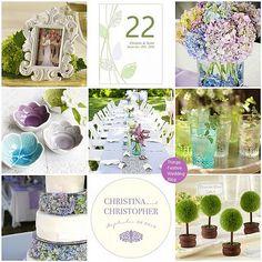 Purple, green and aqua garden wedding theme