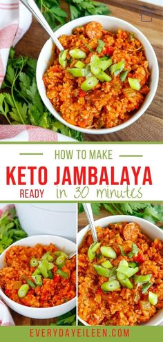 Keto Jambalaya is a spicy one-pot meal made with shrimp and andouille sausage served with cauliflower rice. Ready in 30 minutes. Perfect for a crowd. #ketojambalaya #jambalayaa #keto30minutemeals. #everydayeilleen One Pot Meals, Easy Meals, Jambalaya Recipe, Good Food, Yummy Food, 30 Minute Meals, Cauliflower Rice, Low Carb Keto, Keto Recipes