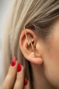 Gold Lightning Ear Pin Earring Minimal Rose Gold Earring | Etsy