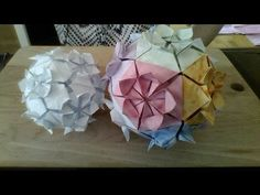 flower ball origami 12 pieces - YouTube