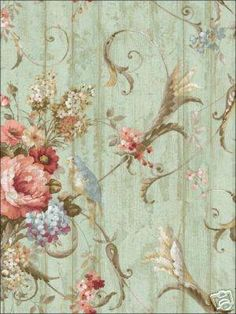 Decoupage - For well wishes - Bird Rose French Cottage Floral Victorian Wallpaper Samples, Wallpaper Roll, Bird Wallpaper, Pattern Wallpaper, Toile Wallpaper, Green Wallpaper, Textured Wallpaper, Wallpaper Ideas, Wallpaper Backgrounds