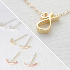 Gold Cursive Initial Pendant with Free Bar Earrings