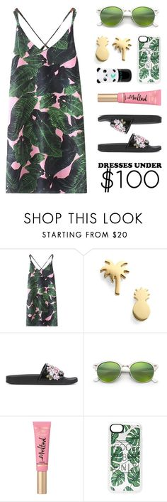 """Tropical Summer Dress (Under $100)"" by lgb321 on Polyvore featuring WithChic, Seoul Little, Alberta Ferretti, Ray-Ban, Too Faced Cosmetics, Casetify and Tony Moly"