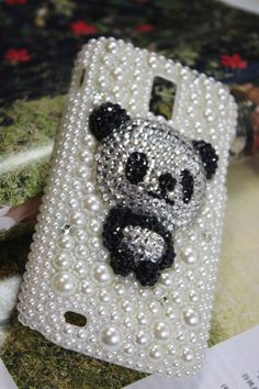 Handmade Charms Bear Pearl Rhinestone Bling Phone Case For BlackBerry 9320 Curve 9320. $26.00, via Etsy.