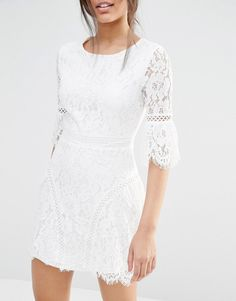 Image 3 of Missguided Lace Detail A-line Dress