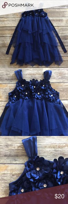 Biscotti Dress Royal blue Tulle Pieced Dress with gemstone Embellished satin flowers on the bodice, satin shoulder straps, affixed tulle belt ties around back. Buttons at back. VGUC. Biscotti Dresses