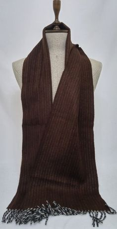 Brown Wool Men's Scarf, Brown Scarf, Brown Men's Scarf, Chashmere Men's Scarf - SC166 #handmadeatamazon #nazodesign