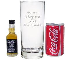 The gift set comprises of miniature Jack Daniels and a miniature can of coke, and also a hi ball glass that can be personalised with any message.