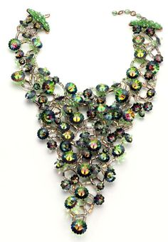 Green and Purple Cosmic Crystal Beaded Menagerie Bib Necklace, Coppola e Toppo, ca.1964