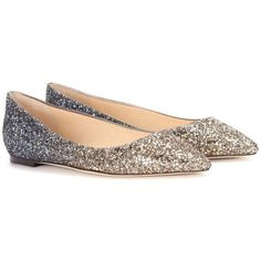 daaf53f8e536 Jimmy Choo Romy Flat Glitter Ballerinas ( 765) ❤ liked on Polyvore  featuring shoes