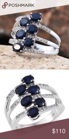 Sapphire Sz 7 Ring, Platinum over Sterling Silver Kanchanaburi Blue Sapphire, White Topaz Platinum Over Sterling Silver 3 Row Open Band Ring (Size 7.0) TGW 3.500 cts. undefined Jewelry Rings