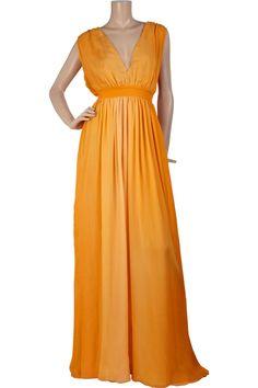Vintage Halston silk orange ombre silk-chiffon full-length dress.
