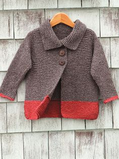 Soft simplicity - our Sawtelle cardigan for girls 2-12 is made entirely of knit sts and the only seaming is at the shoulders. Shown in size 2