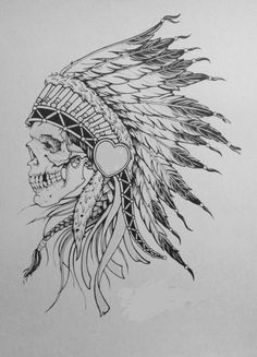 Native American Headdress Skull