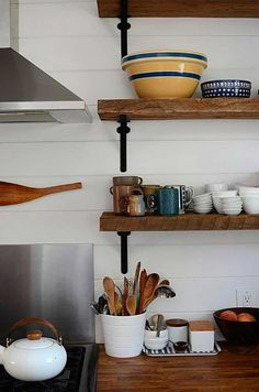 kitchen shelves - open shelving (wood and iron, love) - stainless steel sheeting backsplash and natural wood countertops, all tied together with white subway tile --- my dream kitchen. Reclaimed Wood Shelves, Wooden Shelves, Rustic Shelves, Timber Shelves, Deep Shelves, Floating Shelves, Modern Kitchen Design, Interior Design Kitchen, Kitchen Designs