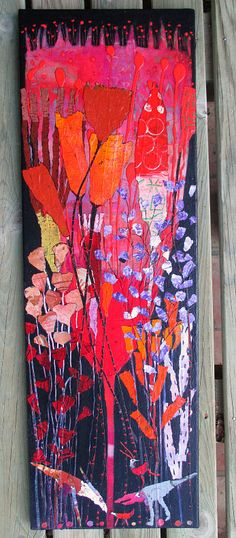 Elke Trittel acrylic collage on canvas 30x90cm