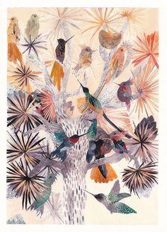 Hummingbirds and Joshua Tree Large Archival Print by unitedthread, $40.00