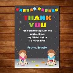 Rock Climbing Thank you Card, Rock Climbing party, Chalkboard - Digital Printable Invitation Printable Invitations, Birthday Invitations, Printables, Toy Story Birthday, 5th Birthday, Rock Climbing Party, Printed Materials, Card Sizes, Paper Goods