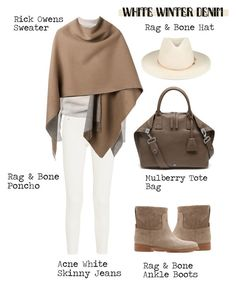 """""""On Trend: Winter White Denim"""" by alaria ❤ liked on Polyvore featuring moda, Acne Studios, Rick Owens, rag & bone, Mulberry, whitejeans y winterwhite"""