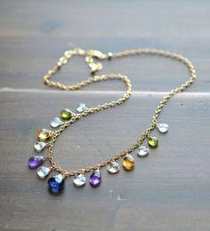 Artisan Necklace. Multi Semiprecious Gemstone jewelry with sapphire, peridot, amethyst, citrine, and aquamarine by BlueRoomGems, $195.00