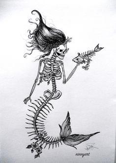 Mermaid skeleton - Mermaid skeleton illustration(dotwork,linework techinque made with pen and ink) - Mermaid skeleton - Mermaid skeleton illustration(dotwork,linework techinque made with pen and ink) - Skeleton Drawings, Skeleton Tattoos, Skeleton Art, Skeleton Anatomy, Skeleton Makeup, Mermaid Drawings, Mermaid Tattoos, Mermaid Art, Mermaid Pisces Tattoo