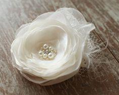 Ivory wedding hairpiece flower bridal hair by LovelyFlowersField, $25.00