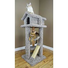 Wood Large Cat Tree Cat Tower Pagoda House, Gray Carcat -- Check this awesome image  : Cat Tree and Tower