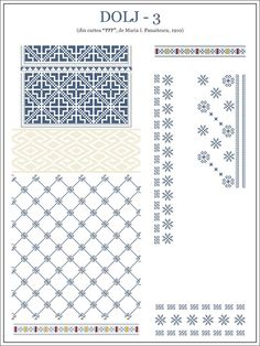 Semne Cusute: OLTENIA - model de ie din Dolj - 3 Embroidery Sampler, Folk Embroidery, Embroidery Stitches, Embroidery Patterns, Cross Stitch Borders, Cross Stitch Flowers, Cross Stitching, Cross Stitch Patterns, Folk Fashion