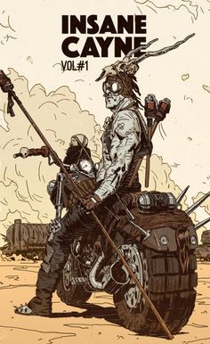 Post apocalyptic motor bike concept art design illustration, post apocalyptic male motor rider, Insane Cayne Volume 1 Behance by Pius Bak More about Mad Max here. Illustrations And Posters, Character Design, Character Art, Illustration, Drawings, Fantasy Art, Comic Books Art, Cyberpunk Art, Book Art