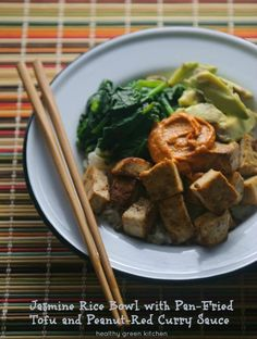 Jasmine Rice Bowl with Pan-Fried Tofu and Peanut-Red Curry Sauce