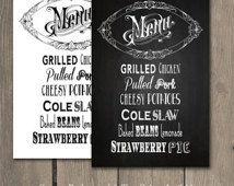 PRINTABLE Wedding Food dinner Menu cottage chic chalkboard Rustic Vintage Elegant Party menu sign DIY Reception menu Digital 08 downloadable
