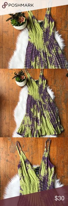 Cotton Hippie Boho Tie Dyed Sun Dress Light flowy tie dyed dress in purple and bright green. Stretchy, ruched waistline. Adjustable spaghetti straps, hits at the knees. Full skirt. Dresses Midi