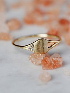 Diamond Dipped Heart Ring | Handmade in California, this beautiful 14k yellow gold ring features a heart-shaped design with five light-catching diamonds. Delicate, femme band makes for a simple, yet stunning aesthetic.