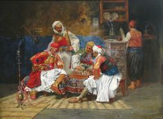 Just marvelous!  A typical Ottoman coffee shop setting - playing blackgammon (or probably chess).  Artist Jean Baptiste Hilaire who visited Turkey in 1776.  Thus this image can be placed in the category of the mid 1770s Ottoman era.
