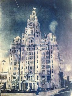 Liver buildings cyanotype on canvas 2016