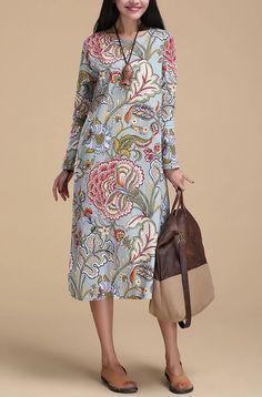 New Spring Graceful National Maxi Long Dresses Floral Printed Vestido De Festa Classical Retro Slim National Long Dress