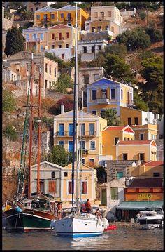 Symi island, Greece - travel the world Beautiful Islands, Beautiful Places, Places To Travel, Places To See, Places Around The World, Around The Worlds, Harbor Town, Greek Isles, Samos
