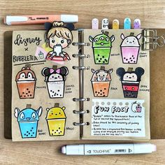 DISNEY X BUBBLE TEA ❤ - crossover woo😍 and today is the last day of recess week sobs 😪can't wait for the entire sem to end omg🙍 - Anyways… Bullet Journal Notebook, Bullet Journal Spread, Bullet Journal Layout, Bullet Journal Inspiration, Journal Ideas, Doodle Drawings, Easy Drawings, Doodle Art, Bubble Tea Shop