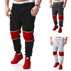 Men's Casual Sweatpants,men's Splicing Sweatpants,Men's Clothing.Get it in black gray and dark gray.