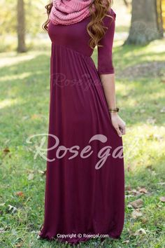 Graceful Scoop Neck 1/2 Sleeve Wine Red Women's Maxi Dress